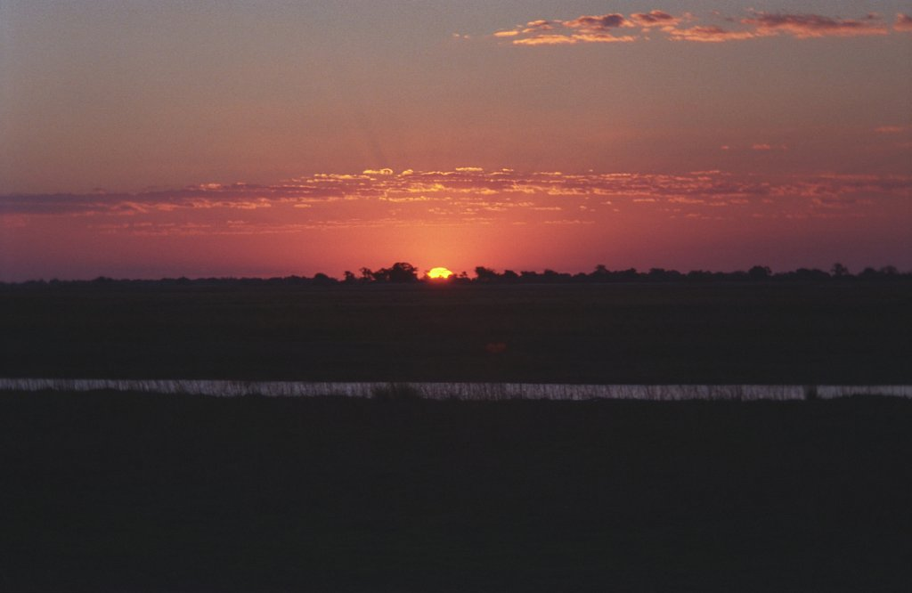 Sunset at Okavango Delta